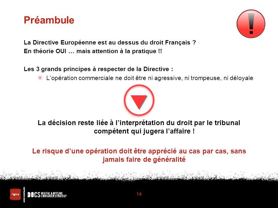 Préambule La Directive Européenne est au dessus du droit Français .