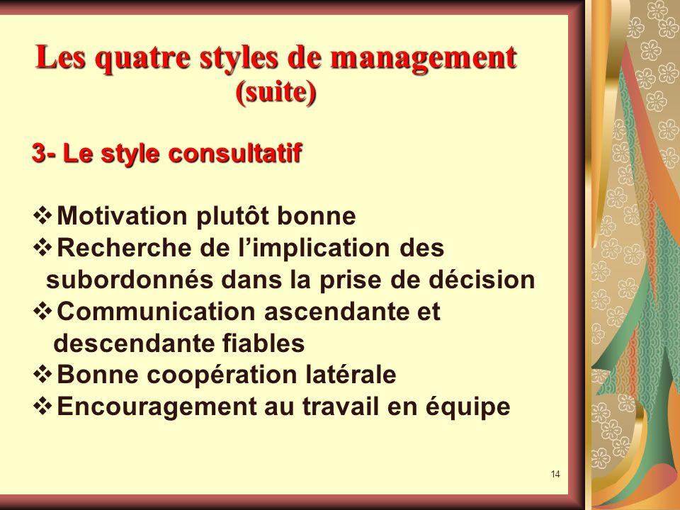 13 Les quatre styles de management (suite) 2- Le style autoritaire paternaliste Motivation fondée sur les récompenses et les sanctions, attitude soumi