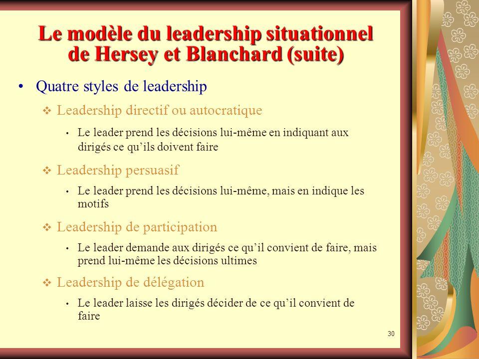 29 La théorie du leadership situationnel Le modèle du leadership situationnel de Hersey et Blanchard Il nexiste pas de recettes miracles Un leadership