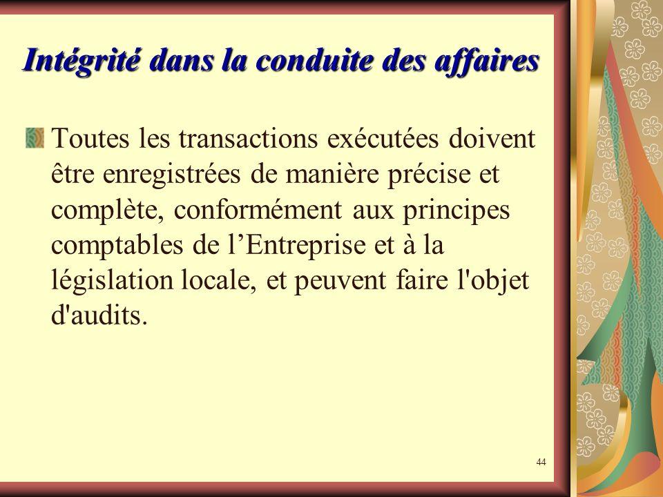 43 Principe de libre Enterprise LEntreprise entend répondre aux besoins de ses clients dune façon plus rapide et plus compétente que nos concurrents.