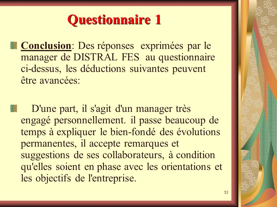 52 Questionnaire 1 Analyse