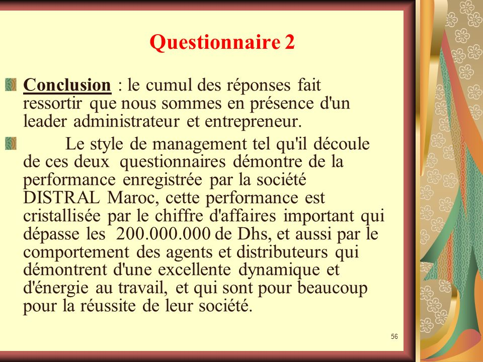 55 Questionnaire 2 Analyse