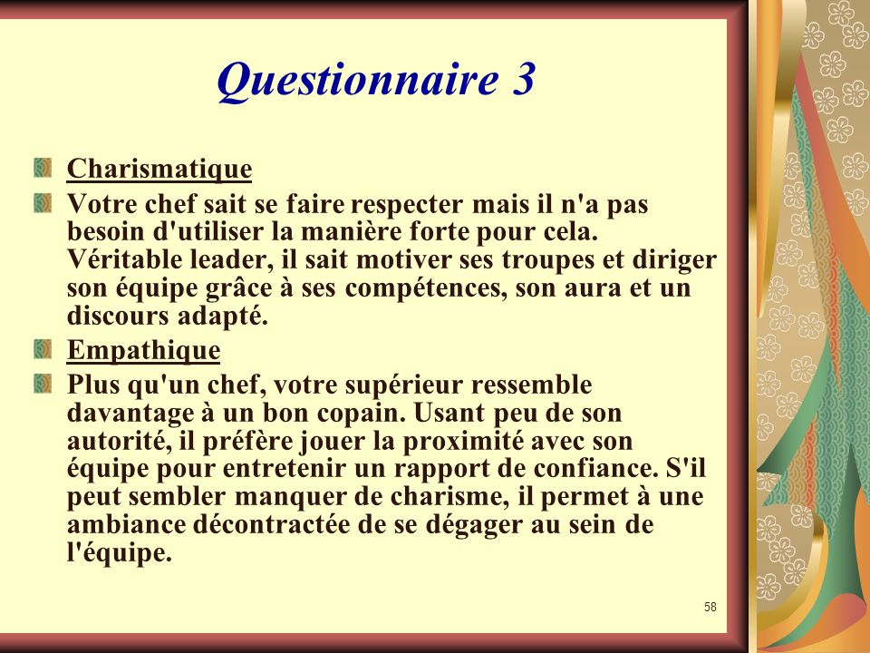57 Questionnaire 3 Analyse