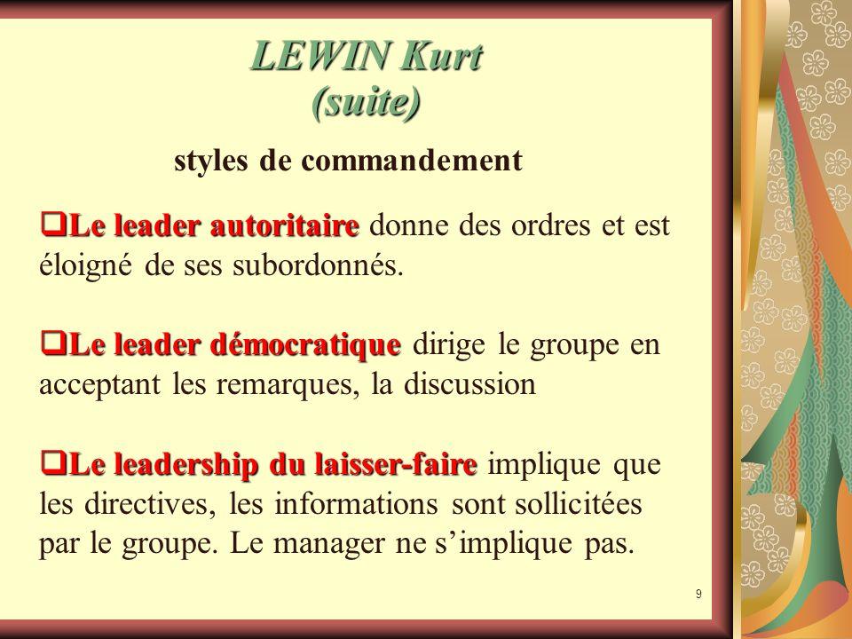 8 LEWIN Kurt (suite) La dynamique de groupe Selon Kurt Lewin, il est plus aisé de faire évoluer un groupe quune personne isolée. Il teste trois modes