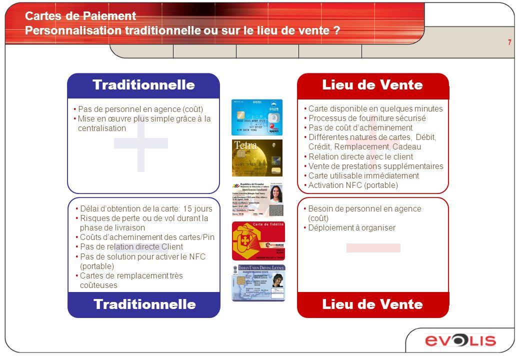 7 Cartes de Paiement Personnalisation traditionnelle ou sur le lieu de vente ? TraditionnelleLieu de Vente TraditionnelleLieu de Vente Délai dobtentio