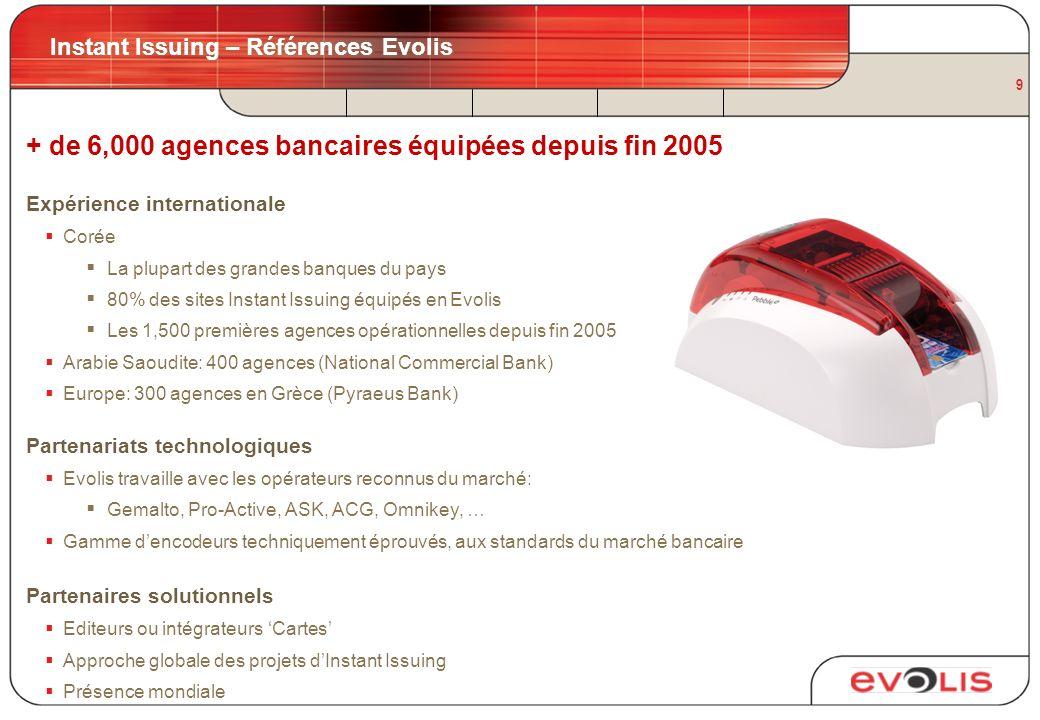 9 Instant Issuing – Références Evolis + de 6,000 agences bancaires équipées depuis fin 2005 Expérience internationale Corée La plupart des grandes ban