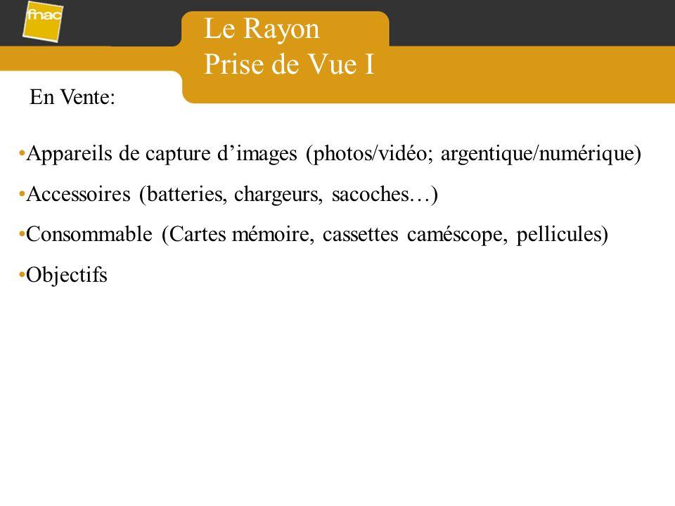 Le Rayon Prise de Vue I Appareils de capture dimages (photos/vidéo; argentique/numérique) Accessoires (batteries, chargeurs, sacoches…) Consommable (C