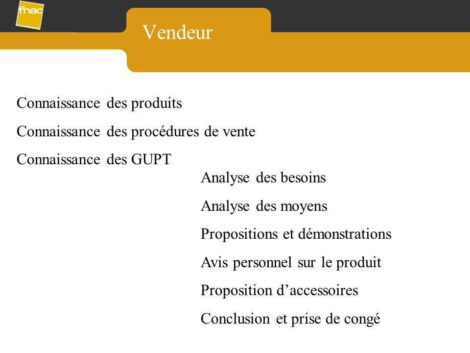Vendeur Connaissance des produits Connaissance des procédures de vente Connaissance des GUPT Analyse des besoins Analyse des moyens Propositions et dé