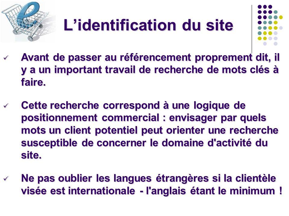 Lidentification du site Avant de passer au référencement proprement dit, il y a un important travail de recherche de mots clés à faire. Avant de passe