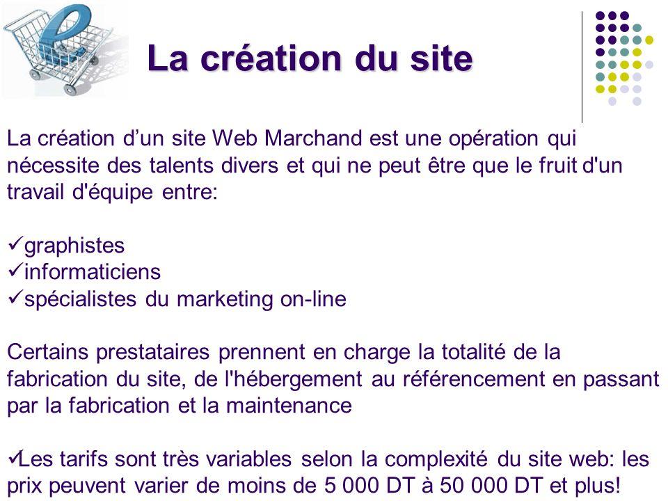 La création du site La création dun site Web Marchand est une opération qui nécessite des talents divers et qui ne peut être que le fruit d'un travail