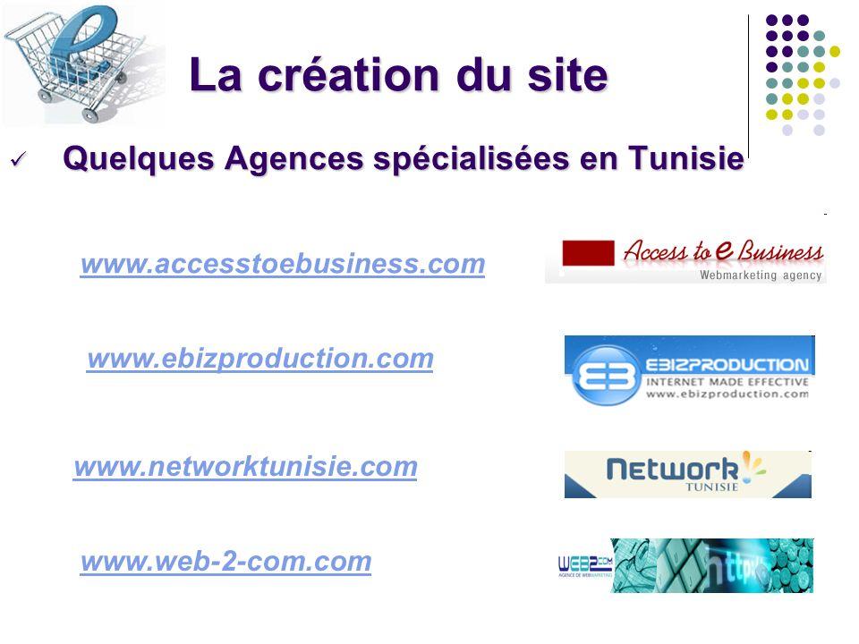 La création du site Quelques Agences spécialisées en Tunisie Quelques Agences spécialisées en Tunisie www.accesstoebusiness.com www.ebizproduction.com