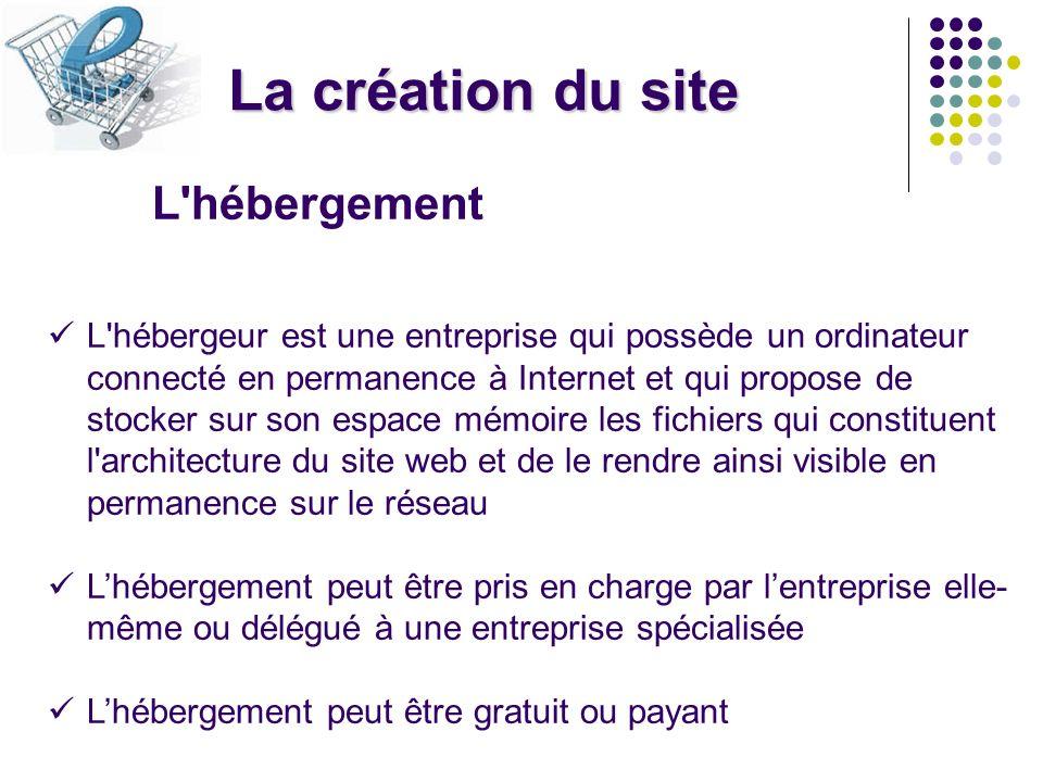 La création du site L'hébergement L'hébergeur est une entreprise qui possède un ordinateur connecté en permanence à Internet et qui propose de stocker