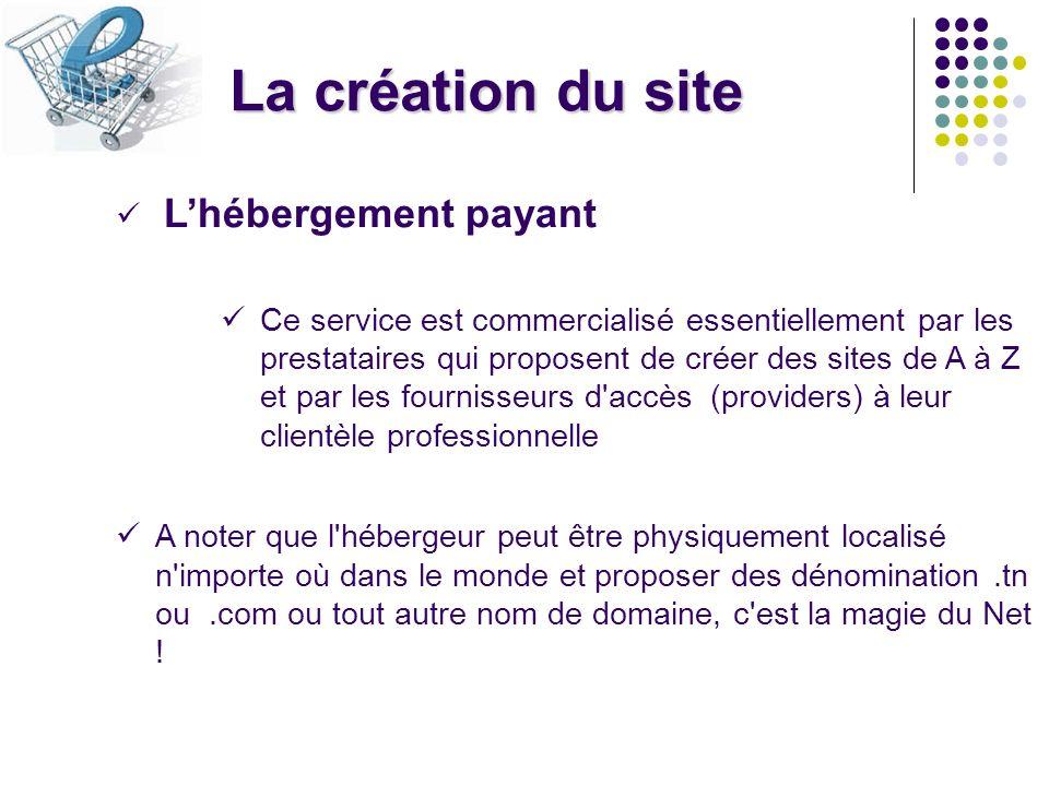 La création du site Lhébergement payant Ce service est commercialisé essentiellement par les prestataires qui proposent de créer des sites de A à Z et
