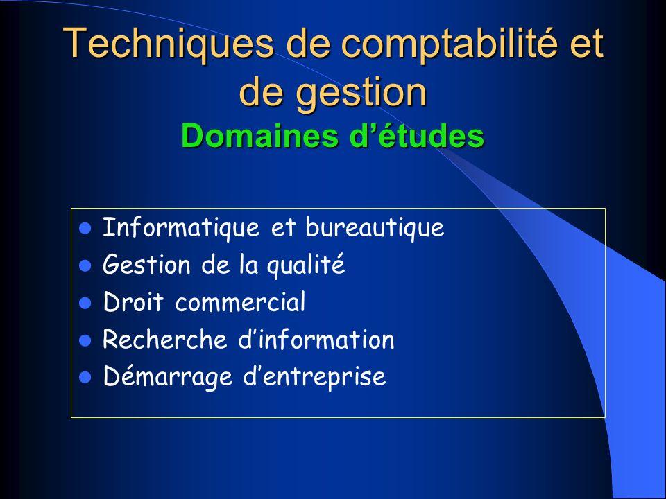 Techniques de comptabilité et de gestion Domaines détudes Informatique et bureautique Gestion de la qualité Droit commercial Recherche dinformation Démarrage dentreprise