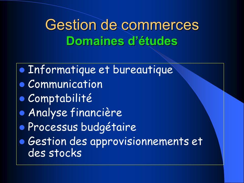 Gestion de commerces Domaines détudes Informatique et bureautique Communication Comptabilité Analyse financière Processus budgétaire Gestion des approvisionnements et des stocks