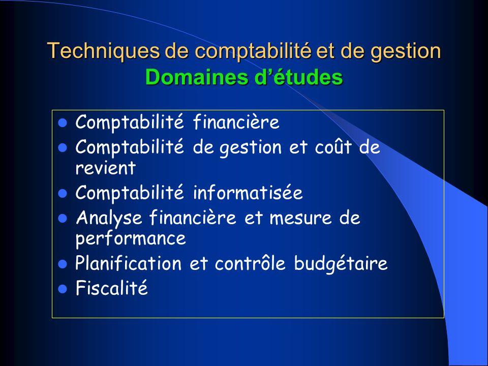 Techniques de comptabilité et de gestion Domaines détudes Comptabilité financière Comptabilité de gestion et coût de revient Comptabilité informatisée Analyse financière et mesure de performance Planification et contrôle budgétaire Fiscalité