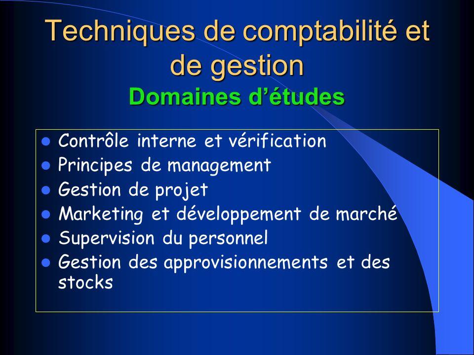 Techniques de comptabilité et de gestion Domaines détudes Contrôle interne et vérification Principes de management Gestion de projet Marketing et développement de marché Supervision du personnel Gestion des approvisionnements et des stocks