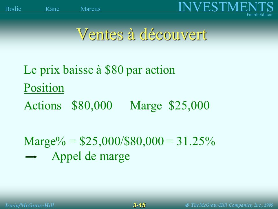 The McGraw-Hill Companies, Inc., 1999 INVESTMENTS Fourth Edition Bodie Kane Marcus 3-15 Irwin/McGraw-Hill Ventes à découvert Le prix baisse à $80 par action Position Actions $80,000 Marge $25,000 Marge% = $25,000/$80,000 = 31.25% Appel de marge