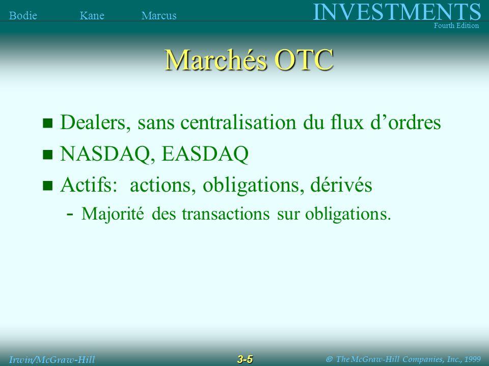 The McGraw-Hill Companies, Inc., 1999 INVESTMENTS Fourth Edition Bodie Kane Marcus 3-5 Irwin/McGraw-Hill Marchés OTC Dealers, sans centralisation du flux dordres NASDAQ, EASDAQ Actifs: actions, obligations, dérivés - Majorité des transactions sur obligations.