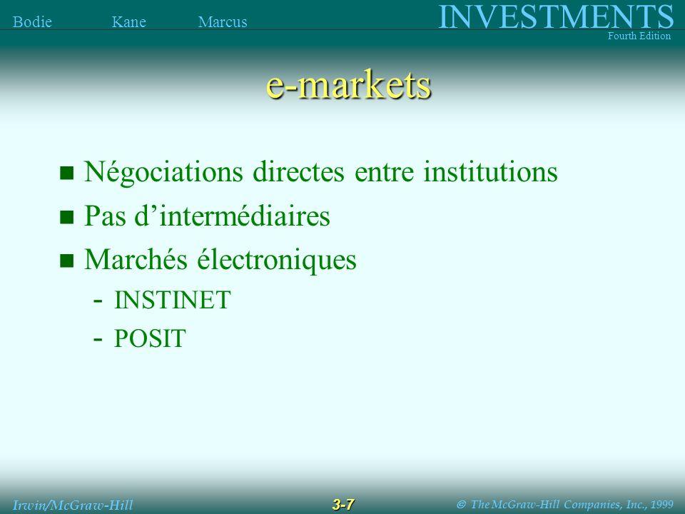 The McGraw-Hill Companies, Inc., 1999 INVESTMENTS Fourth Edition Bodie Kane Marcus 3-7 Irwin/McGraw-Hill e-markets Négociations directes entre institu