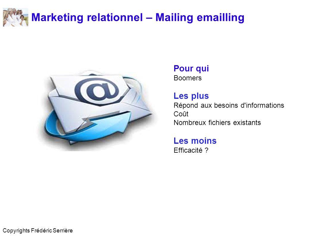 Marketing relationnel – Mailing emailling Pour qui Boomers Les plus Répond aux besoins d informations Coût Nombreux fichiers existants Les moins Efficacité .