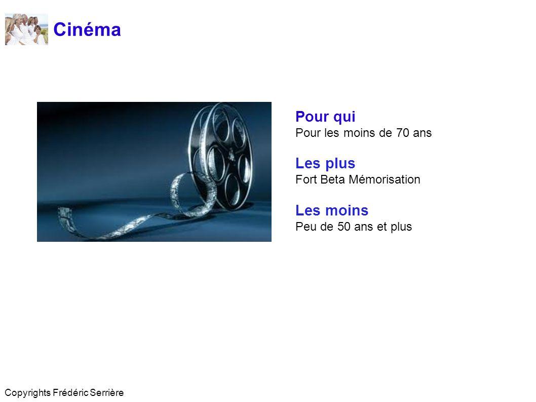 Cinéma Pour qui Pour les moins de 70 ans Les plus Fort Beta Mémorisation Les moins Peu de 50 ans et plus Copyrights Frédéric Serrière