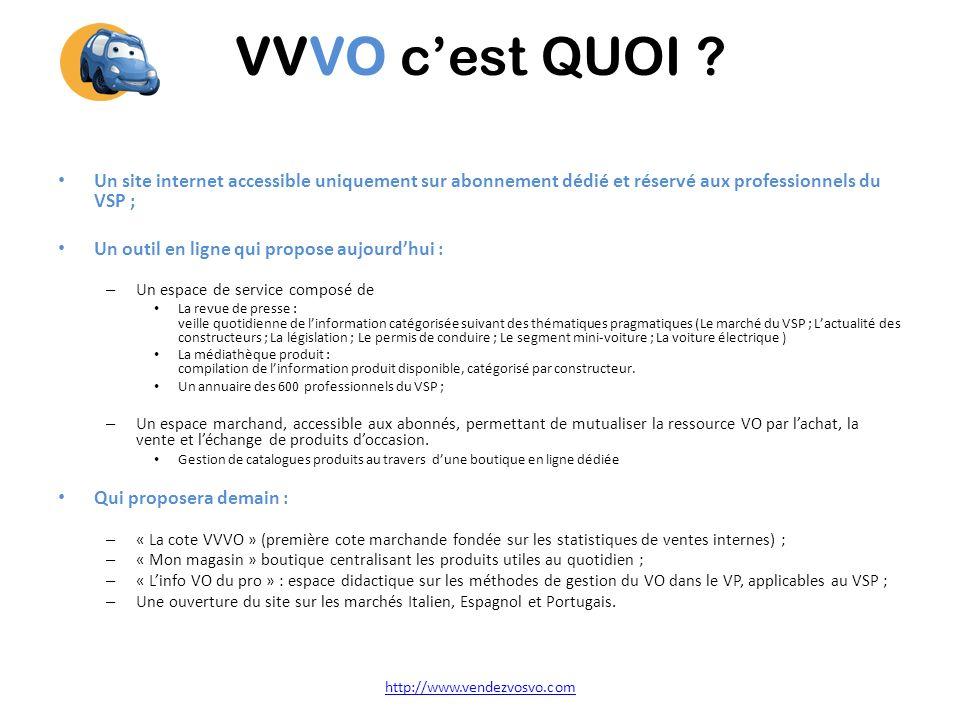 VVVO cest QUOI ? Un site internet accessible uniquement sur abonnement dédié et réservé aux professionnels du VSP ; Un outil en ligne qui propose aujo
