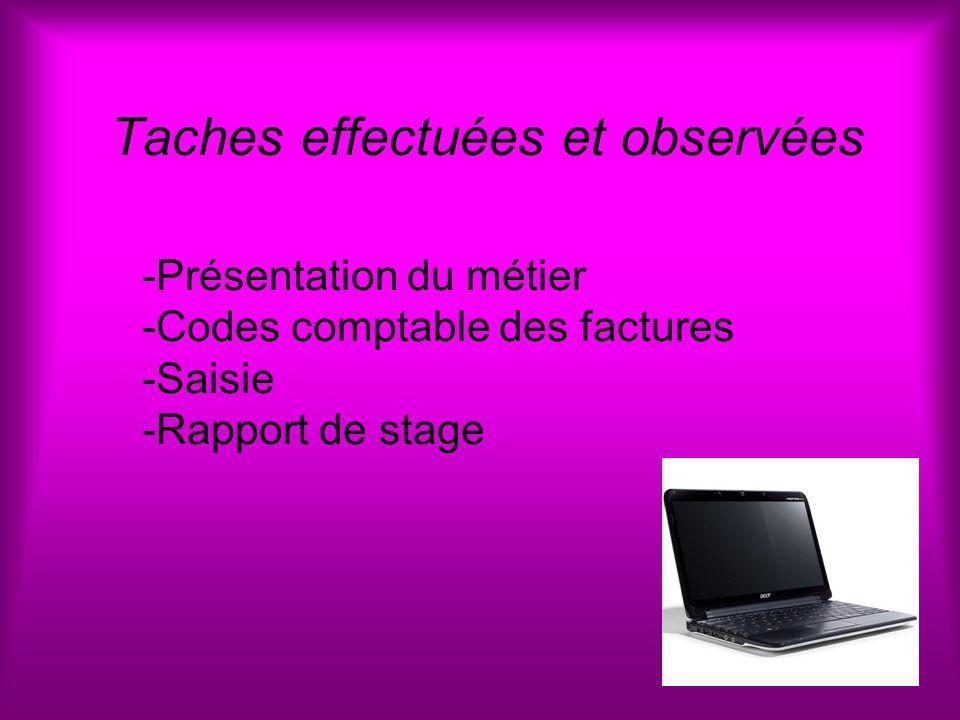 Taches effectuées et observées -Présentation du métier -Codes comptable des factures -Saisie -Rapport de stage