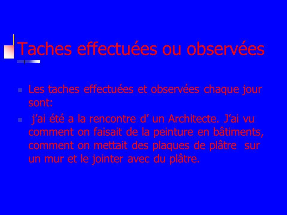 Taches effectuées ou observées Les taches effectuées et observées chaque jour sont: jai été a la rencontre d un Architecte.