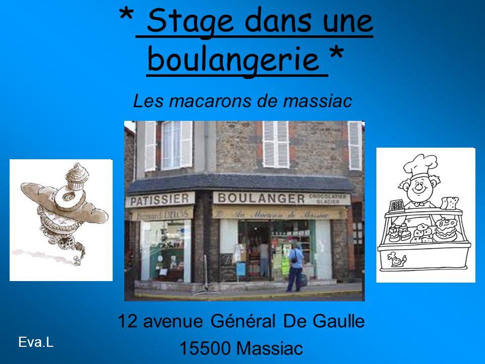 * Stage dans une boulangerie * 12 avenue Général De Gaulle 15500 Massiac Les macarons de massiac Eva.L
