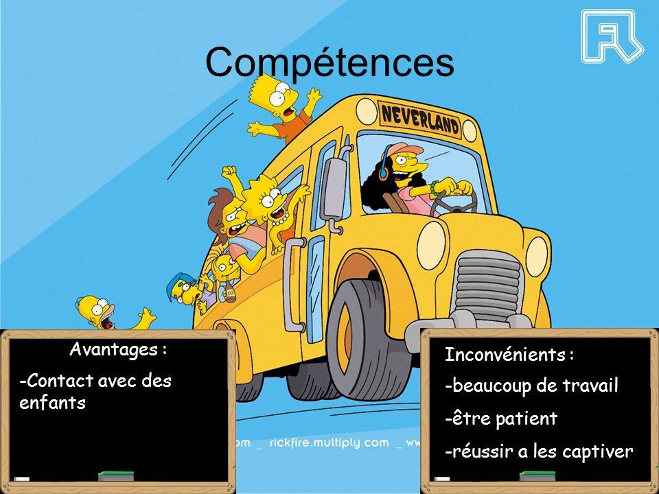 Compétences Avantages : -Contact avec des enfants Inconvénients : -beaucoup de travail -être patient -réussir a les captiver