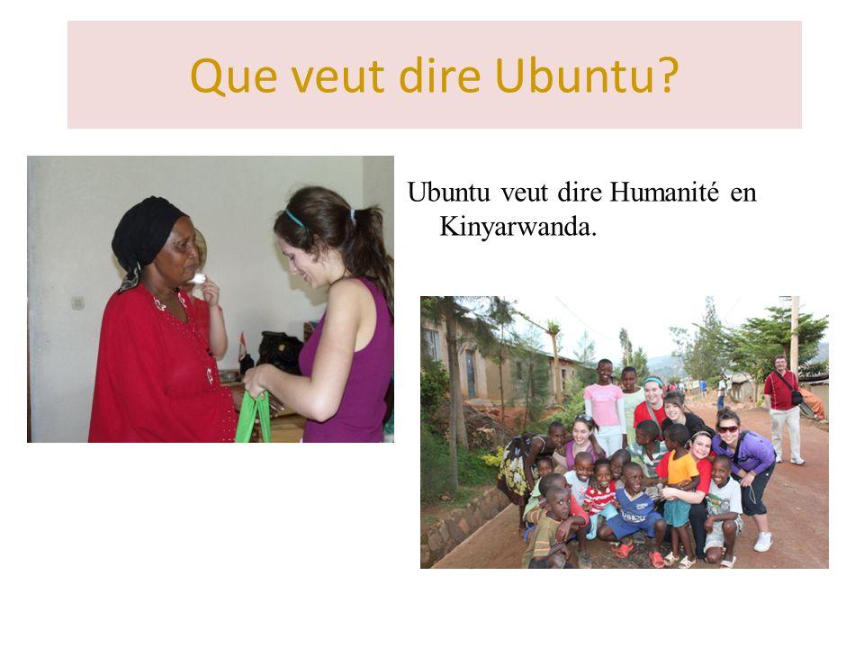 Que veut dire Ubuntu? Ubuntu veut dire Humanité en Kinyarwanda.