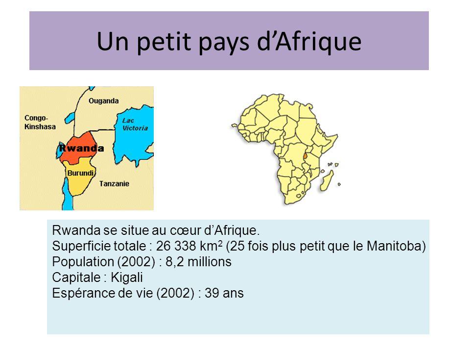 Un petit pays dAfrique Rwanda se situe au cœur dAfrique. Superficie totale : 26 338 km 2 (25 fois plus petit que le Manitoba) Population (2002) : 8,2