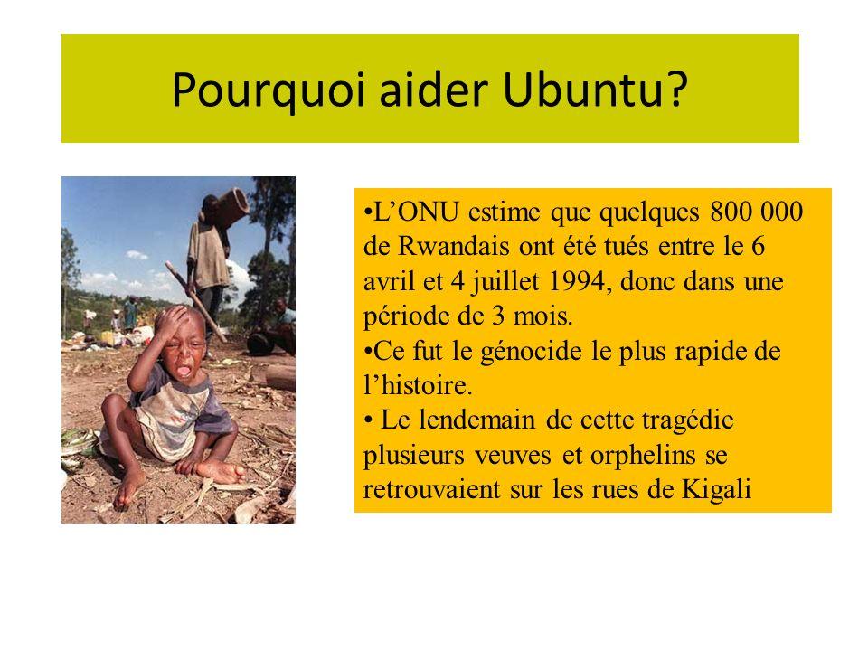 Pourquoi aider Ubuntu? LONU estime que quelques 800 000 de Rwandais ont été tués entre le 6 avril et 4 juillet 1994, donc dans une période de 3 mois.