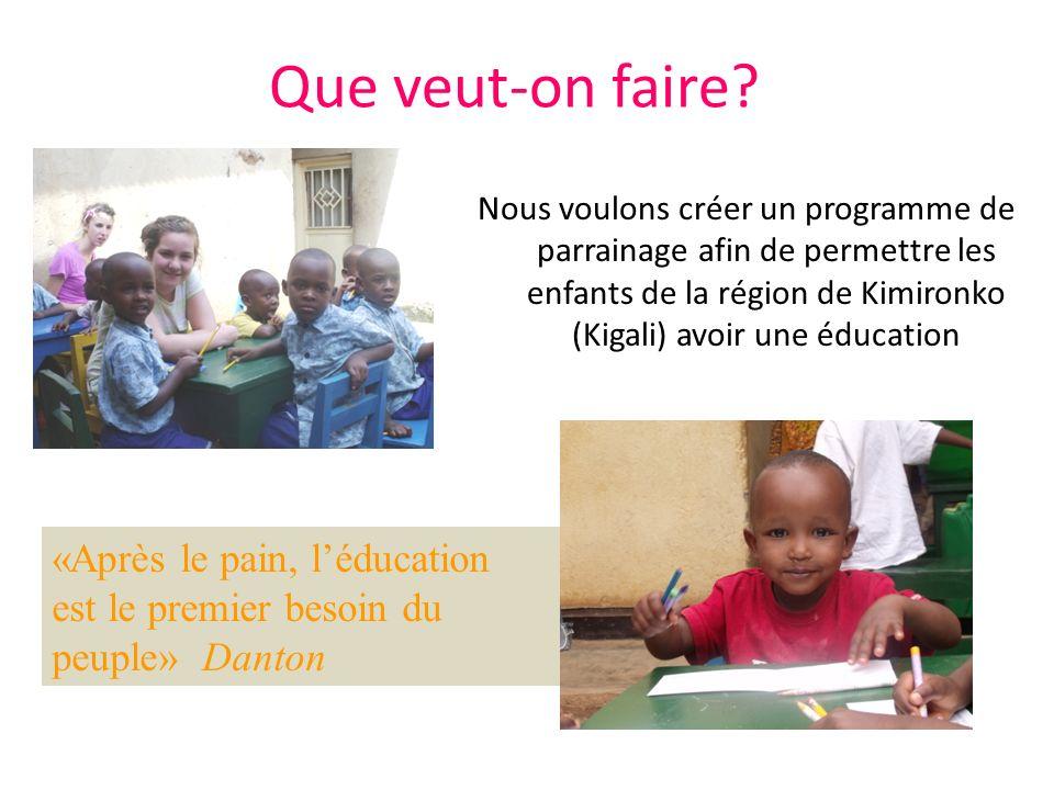 Que veut-on faire? Nous voulons créer un programme de parrainage afin de permettre les enfants de la région de Kimironko (Kigali) avoir une éducation