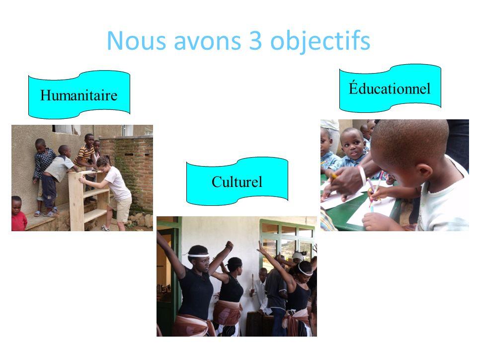 Nous avons 3 objectifs Humanitaire Éducationnel Culturel