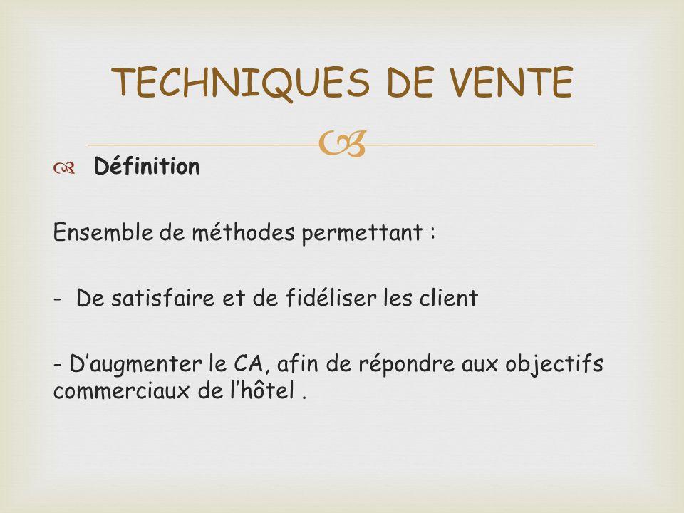 Définition Ensemble de méthodes permettant : - De satisfaire et de fidéliser les client - Daugmenter le CA, afin de répondre aux objectifs commerciaux