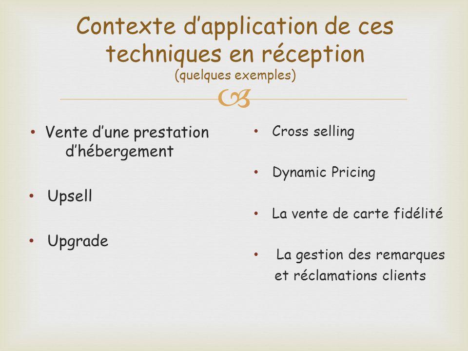 Contexte dapplication de ces techniques en réception (quelques exemples) Vente dune prestation dhébergement Upsell Upgrade Cross selling Dynamic Prici