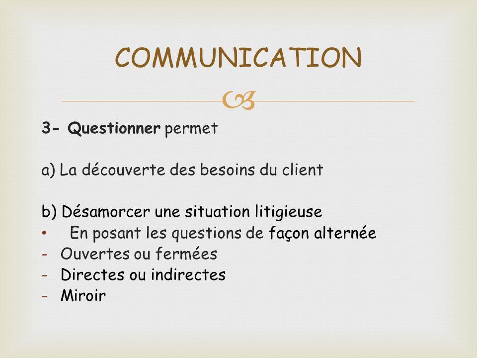 3- Questionner permet a) La découverte des besoins du client b) Désamorcer une situation litigieuse En posant les questions de façon alternée -Ouverte
