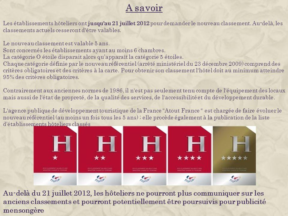 A savoir Les établissements hôteliers ont jusqu'au 21 juillet 2012 pour demander le nouveau classement. Au-delà, les classements actuels cesseront d'ê