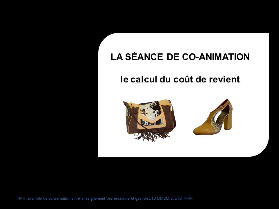 TP – exemple de co-animation entre enseignement professionnel et gestion BTS MMCM et BTS MMV LA SÉANCE DE CO-ANIMATION le calcul du coût de revient BTS MMCM