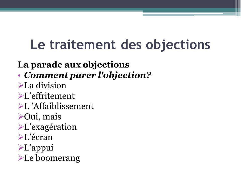Le traitement des objections La parade aux objections Comment parer l'objection? La division L'effritement L 'Affaiblissement Oui, mais L'exagération