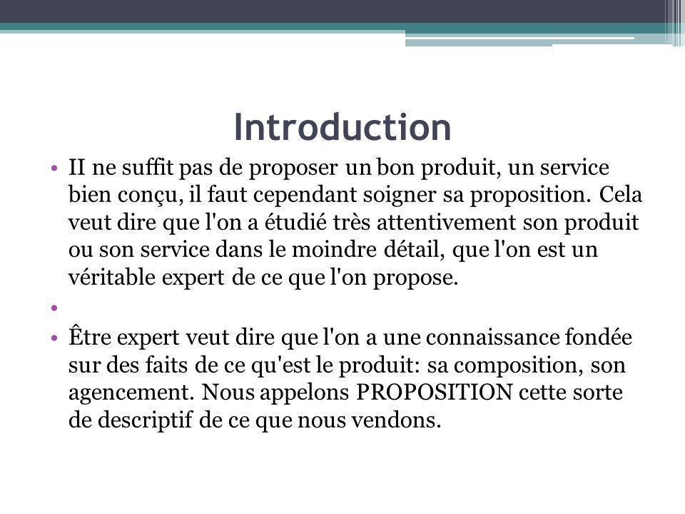 Introduction II ne suffit pas de proposer un bon produit, un service bien conçu, il faut cependant soigner sa proposition. Cela veut dire que l'on a é
