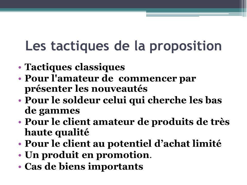 Les tactiques de la proposition Tactiques classiques Pour l'amateur de commencer par présenter les nouveautés Pour le soldeur celui qui cherche les ba