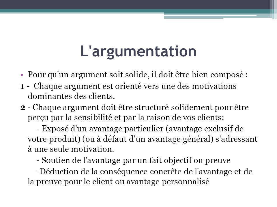 L'argumentation Pour qu'un argument soit solide, il doit être bien composé : 1 - Chaque argument est orienté vers une des motivations dominantes des c