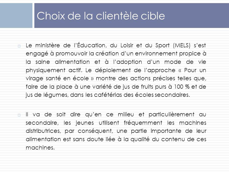 Choix de la clientèle cible Le ministère de lÉducation, du Loisir et du Sport (MELS) sest engagé à promouvoir la création dun environnement propice à