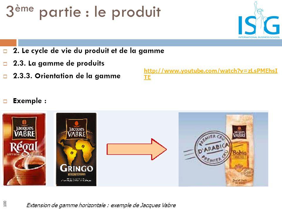 2. Le cycle de vie du produit et de la gamme 2.3. La gamme de produits 2.3.3. Orientation de la gamme Exemple : 3 ème partie : le produit Extension de