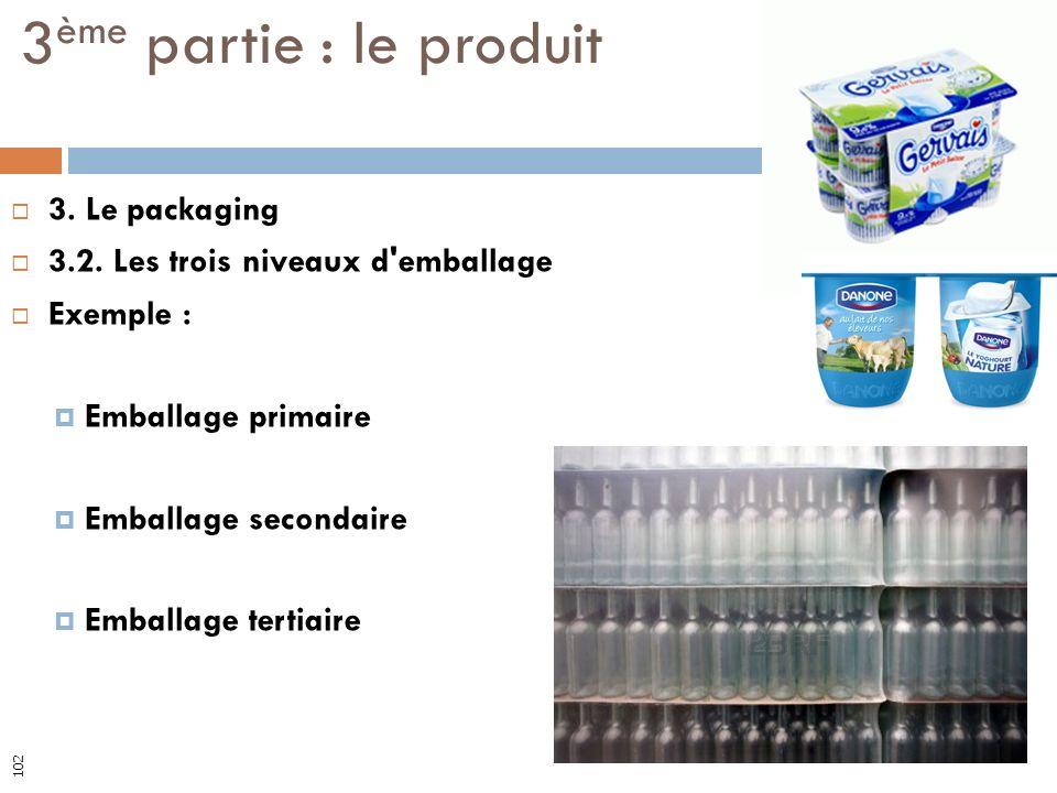 3. Le packaging 3.2. Les trois niveaux d'emballage Exemple : Emballage primaire Emballage secondaire Emballage tertiaire 3 ème partie : le produit 102