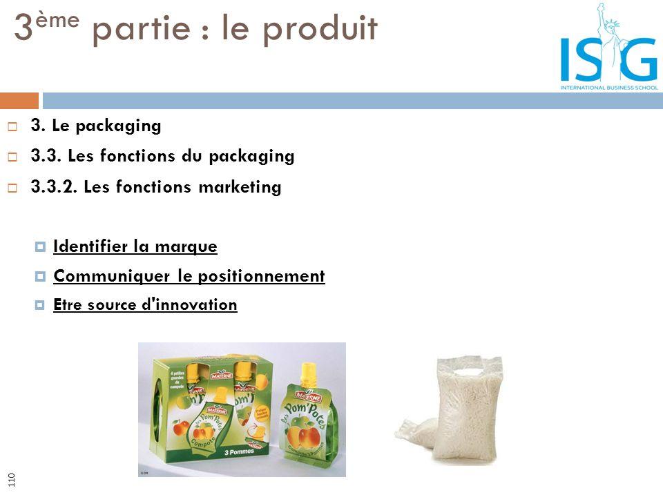 3. Le packaging 3.3. Les fonctions du packaging 3.3.2. Les fonctions marketing Identifier la marque Communiquer le positionnement Etre source d'innova
