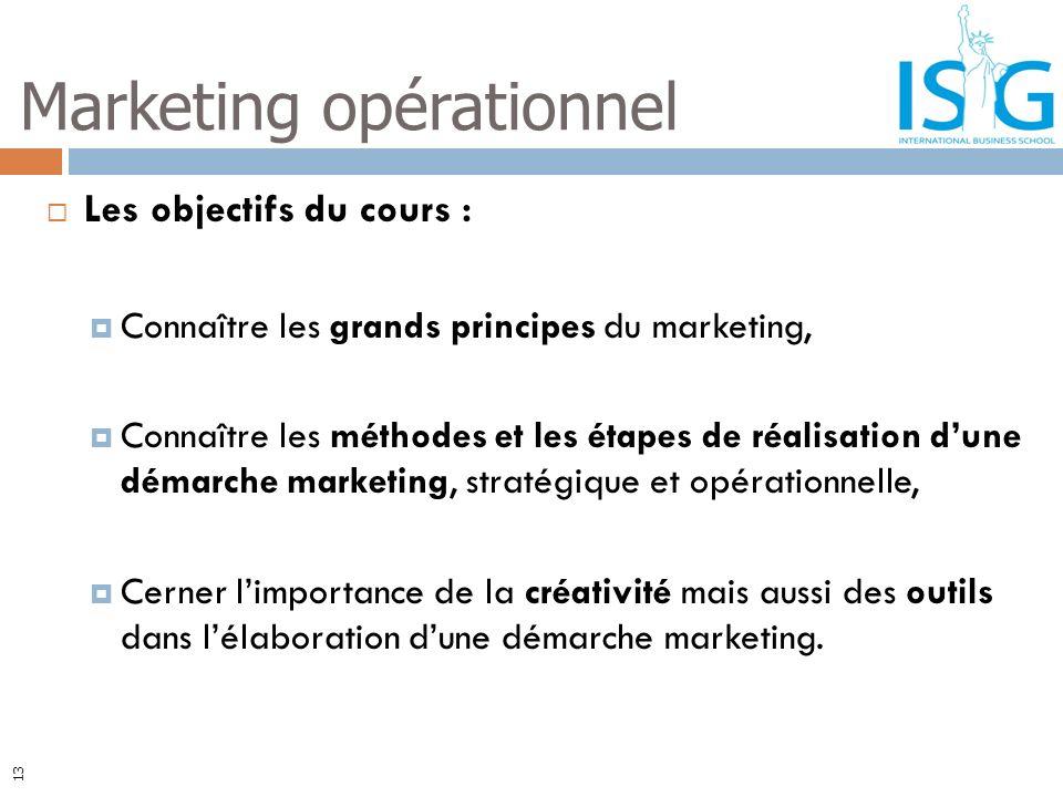 13 Les objectifs du cours : Connaître les grands principes du marketing, Connaître les méthodes et les étapes de réalisation dune démarche marketing,